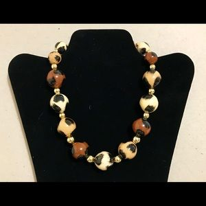 Apt. 9: Leopard Brown Beaded and Gold Necklace